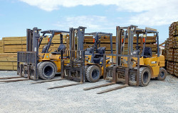Close up image of yellow forklifts parked with timber stacks