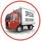 Delivery truck on white background and red circular border