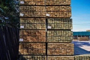Stacked pailings in lumber yard