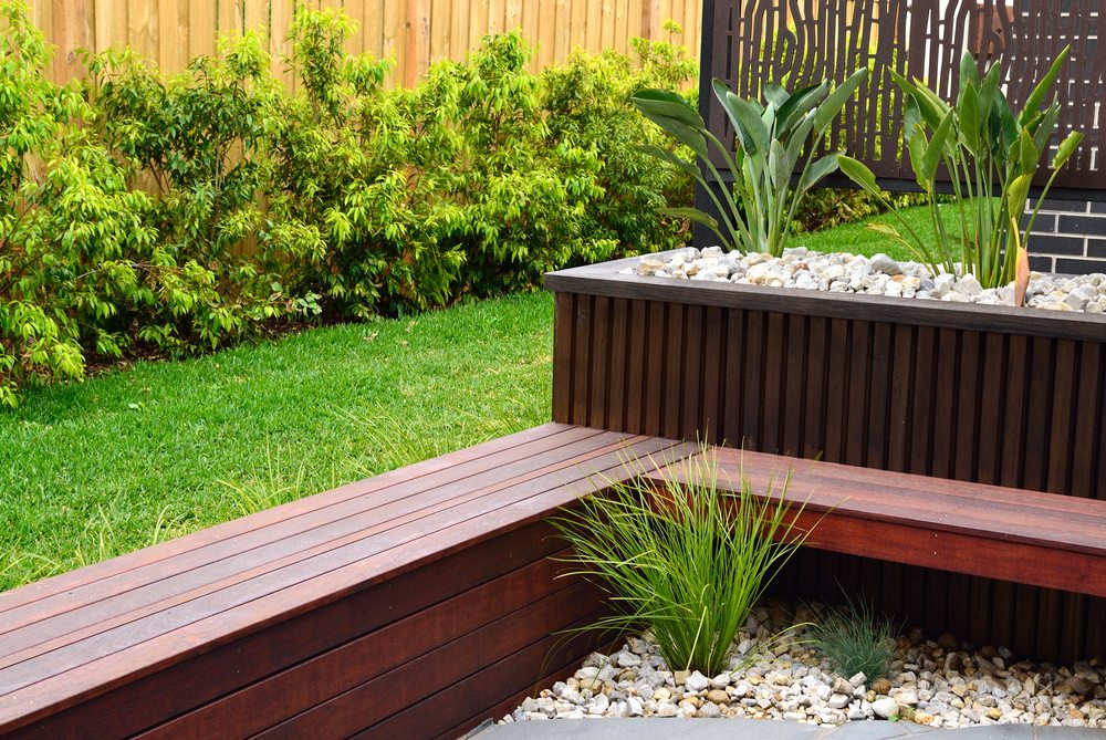 A nice garden with timber seating