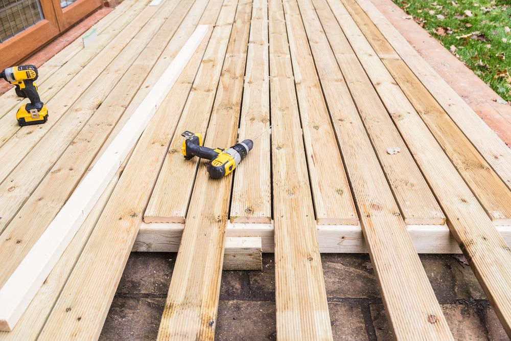 A timber deck under construction