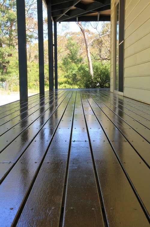Freshly oiled Merbau hardwood deck