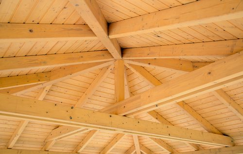 Interior plain timber roof beams showing beams and supports