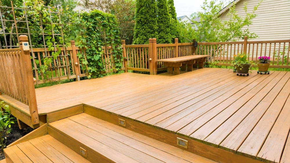 Wooden deck of family home
